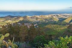 从Pico de Bandama,大加那利岛,西班牙的日落视图 免版税库存图片