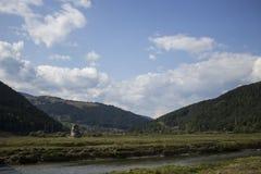 从Poiana Largului的Bistrita河 库存照片