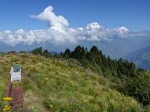 从Poon小山,尼泊尔的道拉吉里峰范围 库存图片