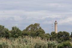 从Puerto de萨贡托,巴伦西亚的卡内特de Berenguer灯塔, 图库摄影