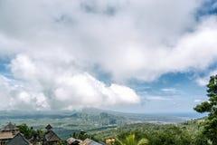 从Pura阿贡Besakih寺庙,巴厘岛,印度尼西亚的一个看法 库存图片