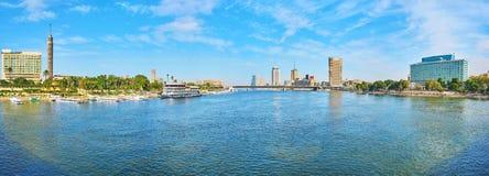 从Qasr El零桥梁,开罗,埃及的全景 图库摄影