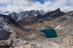 从Renjo la的顶视图,珠穆琅玛地区,尼泊尔 库存照片