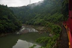 从Sagano盘旋火车的红色无盖货车看见的Katsura河的美好的风景 库存照片