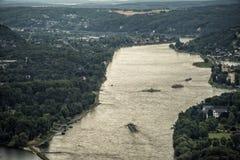 从Siebengebirge Drachenfels在莱茵河,方向sud的看法 库存图片