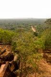 从Sigiriya狮子的岩石宫殿的视图 免版税库存照片