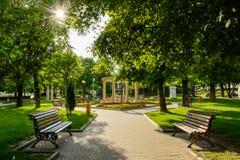 从Simleu Silvaniei市, Salaj县,特兰西瓦尼亚,罗马尼亚的中央公园 图库摄影