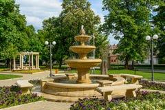 从Simleu Silvaniei市, Salaj县,特兰西瓦尼亚,罗马尼亚的中央公园 免版税库存照片