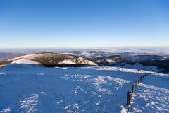 从Sniezka Snezka的Karkonosze Krkonose,在冬天 库存图片