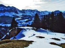 从Spitzli的顶端全景在Urnasch解决附近 免版税库存照片