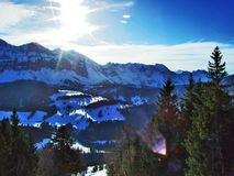 从Spitzli的顶端全景在Urnasch解决附近 图库摄影