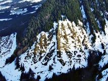 从Spitzli的顶端全景在Urnasch解决附近 免版税库存图片