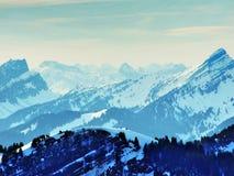 从Spitzli的顶端全景在Urnasch解决附近 免版税图库摄影