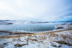从Stupa海岛的冻湖 库存照片