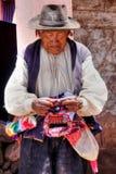 从Taquile, Titicaca的盖丘亚族人的当地老人 免版税库存图片