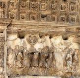 从Titus曲拱的详细资料在罗马 免版税库存图片