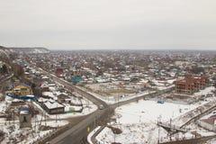 从Tobolsk克里姆林宫的墙壁的看法 库存照片