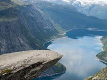 从Trolltunga的看法到海湾和水挪威 库存图片