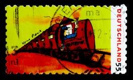 从Udo Lindenberg的绘画:专车向潘科, serie,大约2010年 图库摄影