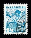 从Zell,萨尔茨堡的伐木工人,打扮serie,大约1934年 免版税图库摄影