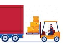仓库工作者用现代铲车装载卡车 皇族释放例证