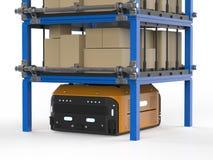 仓库机器人运载箱子 向量例证