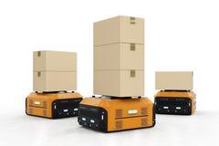 仓库机器人运载箱子 库存例证
