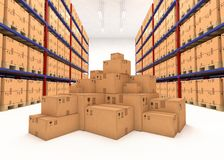 仓库架子充满箱子 皇族释放例证