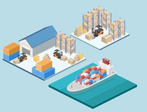 仓库等量内部  箱子在架子 免版税图库摄影