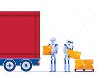 仓库装载卡车的机器人工作者用箱子 皇族释放例证