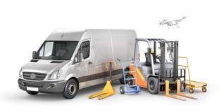 仓库运输 交付的汽车与铲车,台车,在白色背景的手工铲车 3d例证 免版税库存照片