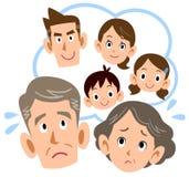 他们的儿子的家庭麻烦的资深夫妇 向量例证