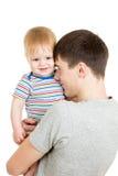 他的现有量的愉快的父亲藏品婴孩isoated 库存照片