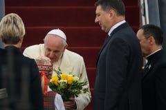 他的神圣教皇弗朗西斯和Raimonds Vejonis,拉脱维亚的总统 免版税图库摄影