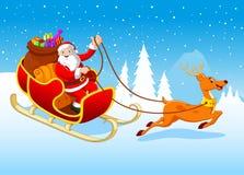他的雪撬的愉快的圣诞老人由驯鹿拉扯了 库存图片