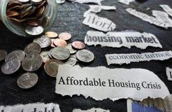 付得起的住房危机新闻 免版税库存图片