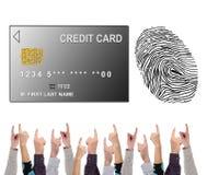 付款几个手指指向的安全概念 免版税库存照片
