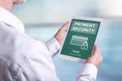 付款在片剂的安全概念 免版税图库摄影