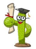 仙人掌动画片滑稽的字符传染媒介被隔绝的硕士学位成功 向量例证