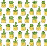 仙人掌在罐和芦荟多汁植物中乱画无缝的传染媒介样式 库存图片