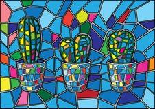 仙人掌彩色玻璃迷离背景 库存例证
