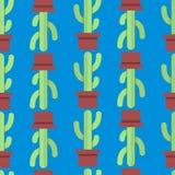 仙人掌的无缝的样式 免版税库存图片