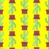 仙人掌的无缝的样式 免版税库存照片