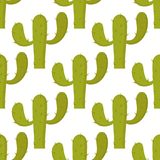 仙人掌自然沙漠花绿色墨西哥多汁热带植物无缝的样式仙人掌花卉传染媒介例证 免版税库存照片