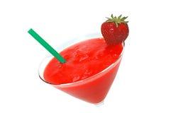 代基里酒装饰秸杆草莓 免版税库存照片