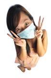 代理逗人喜爱亚洲人屏蔽护士 库存图片