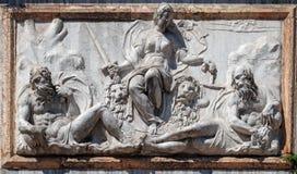 代表威尼斯的安心作为法官, Campanile di圣Marco,威尼斯 免版税库存图片
