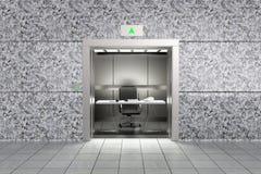 代表proffessional成功的一个概念性图象用在上升的电梯里面的一个办公室  库存例证