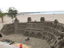 令人惊讶的巨大的沙子城堡特内里费岛 库存照片