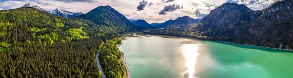令人惊讶的绿松石湖Sylvenstein,上部巴伐利亚 r 5月,德国 免版税库存照片